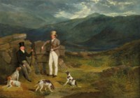 John Barker of Leighton Hall, Yorkshire, and John Batsby, with pointers on a grouse moor